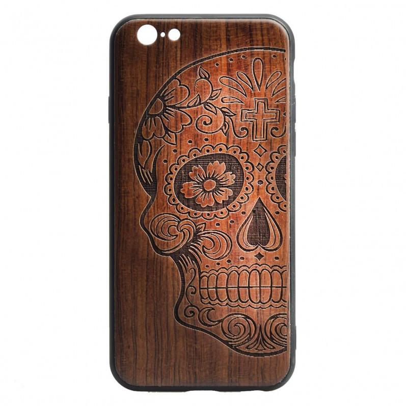 Carcasa Madera Tallada Calavera Mexicana para iPhone 6 Plus- La Casa de las Carcasas